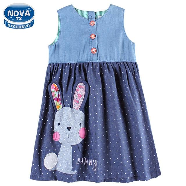 91faebcb7780 2017 Girls dress baby clothes summer sleeveless bunny character blue ...
