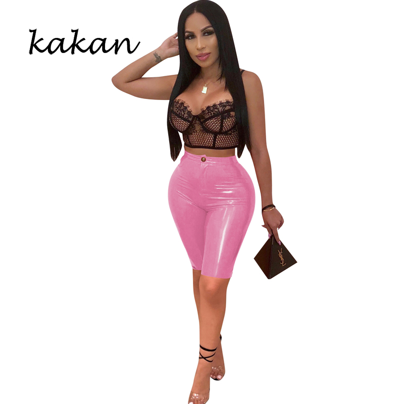Kakan new high elastic PU leatherfashion tight casual pencil yellow blue red rose red black shorts