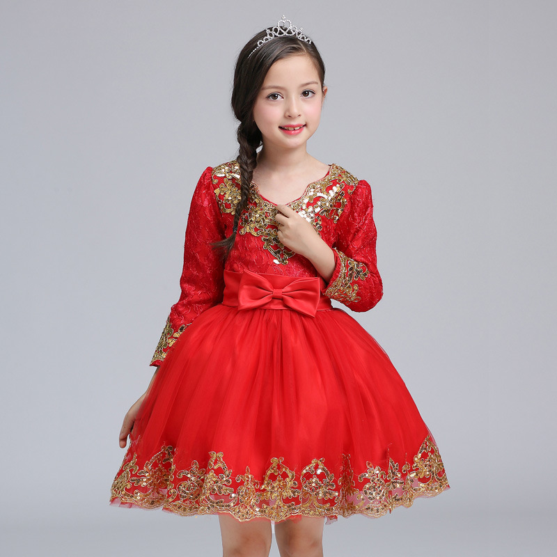 Lesvago chinese red autumn winter long sleeves princess dresses new year christmas party girl dresses grey side pockets cold shoulder long sleeves dresses