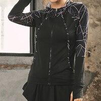 Geometric Quick Dry Gym Running Jackets Sport Coats Women's Hooded Fitness Yoga Long Sleeve Zipper Jackets Fitness Women Clothes