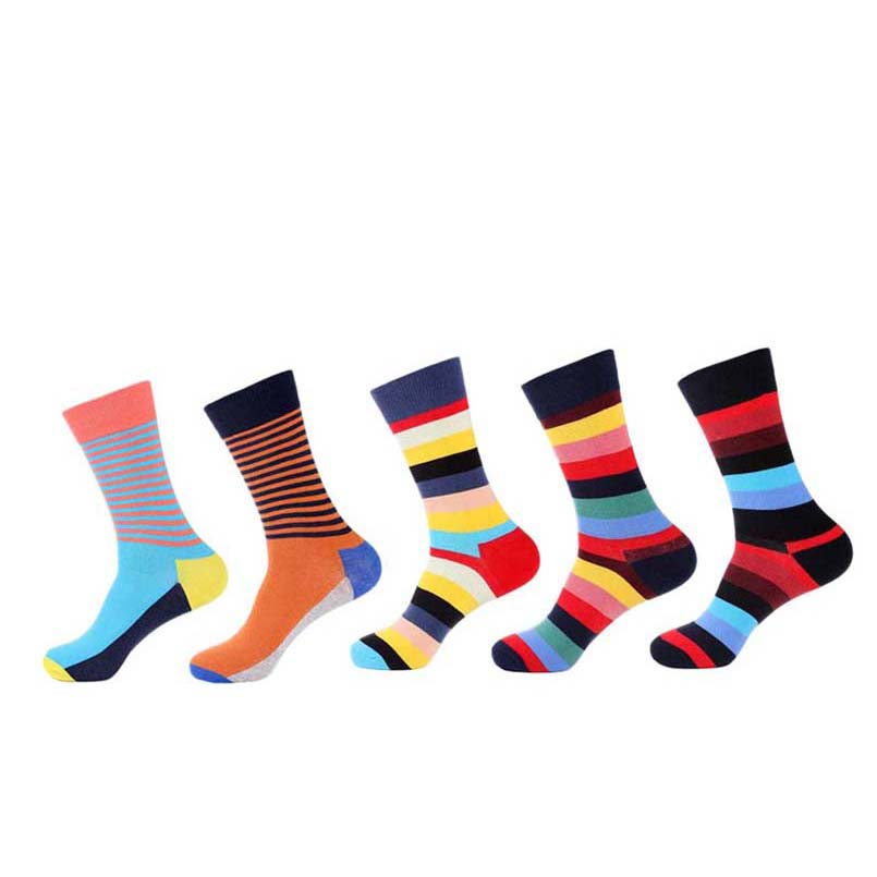 5 Pairs Crew Funny Socks Men Happy Socks Summer Mens Colorful Striped Soft Warm Breathable Combed Cotton Wedding Dress Socks