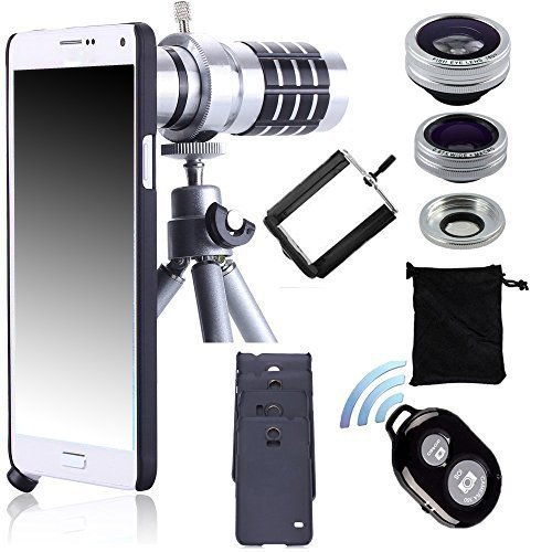 12x Manual Focus Lens+Fisheye Lens+2 in 1 Macro&Wide Angle Lens+Case+Bluetooth Remote Shutter+Aluminum Tripod For Samsung Phone led fill in flash light wide angle macro lens for smartphone white