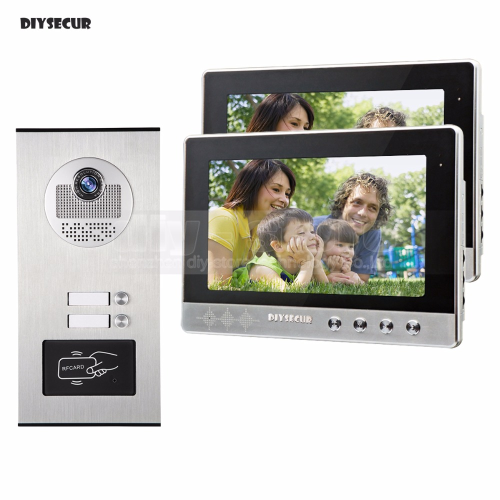 DIYSECUR 10 Apartment Video Intercom Doorbell Video Door Phone System IR Camera Build-in RFID Reader For 2 Families diysecur 7 4 wired apartment video door phone audio visual intercom entry system ir camera for 6 families