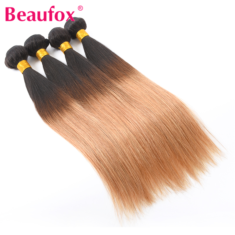 Beaufox Ombre Brazilian Straight Human Hair Weave Blonde Hair Bundles T1B/27 2 Tone Color Non-remy Can Buy 3 or 4 Bundles