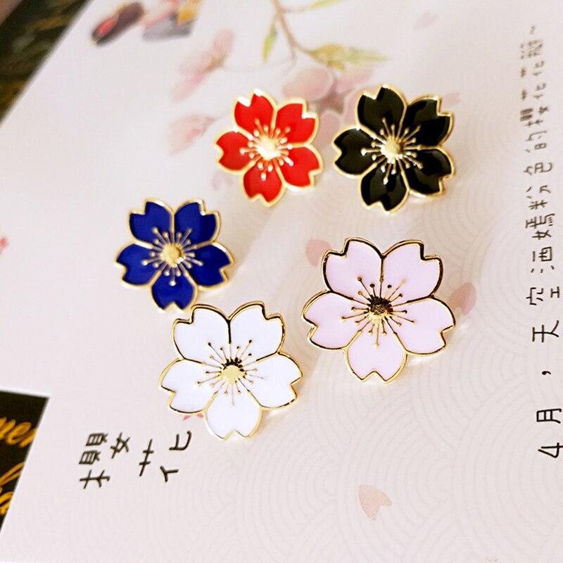 Булавки K Сакура японской вишни Броши Булавки Oriental эмаль розы Broche значок безопасно с лацканами Булавки Для женщин jewelry подарки
