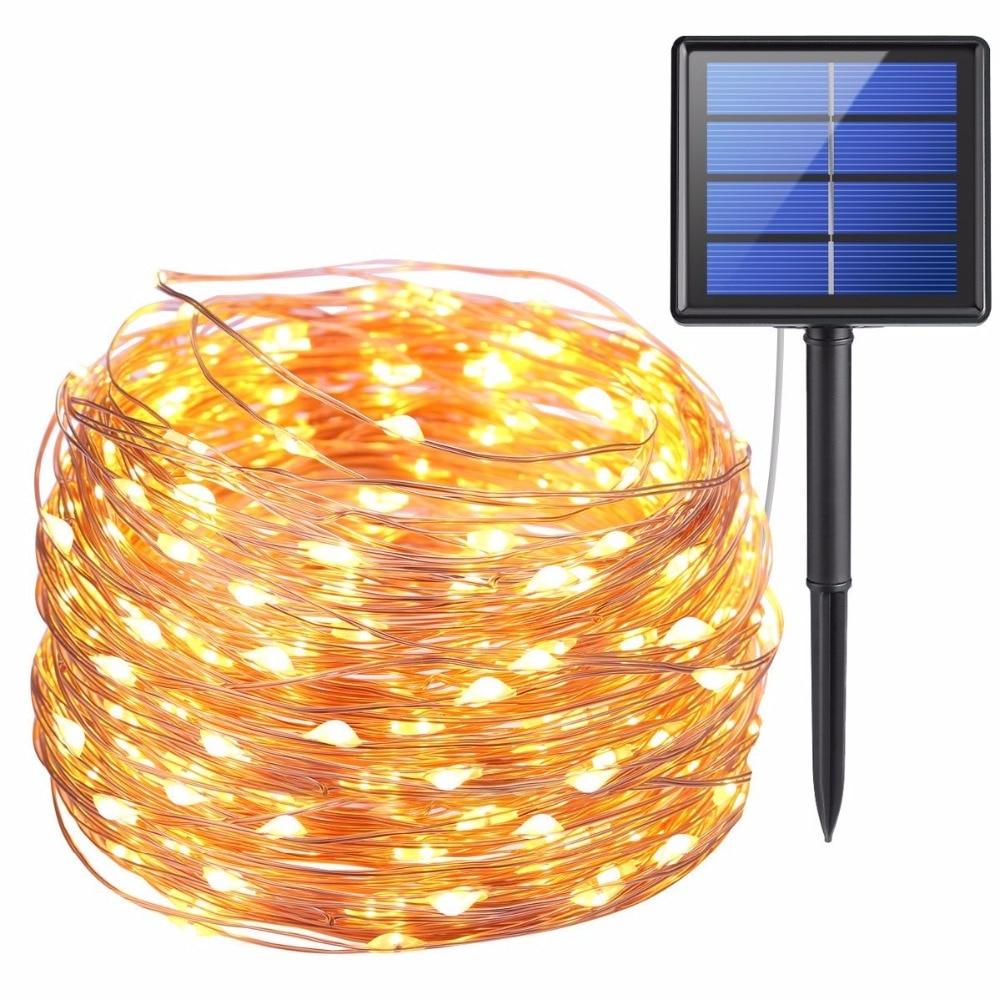 11 M 21 m LED al aire libre Solar lámparas 100/200 LED cadena de luces de hadas de Navidad Garland Solar jardín impermeable luces