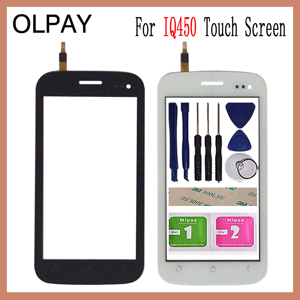 OLPAY 5.0'' Touch Screen For Fly IQ450 IQ 450 Touch Screen Digitizer Panel Front Glass Lens Sensor Tools Adhesive+Wipes