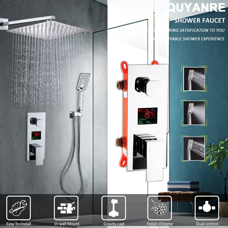 купить Quyanre LED Digital Display Shower Faucet Set Rain Shower Head 3-way Handshower Digital Display Mixer Tap Bathroom Shower Faucet по цене 5915.78 рублей