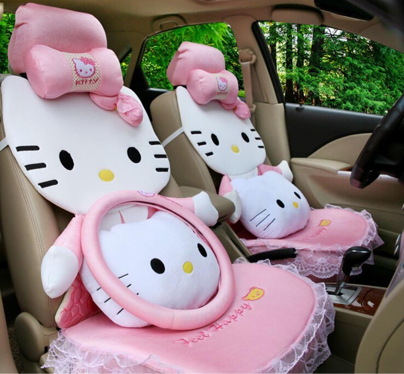 14pcs hello kitty style universal car seat covers cushion set for all seasons universal car. Black Bedroom Furniture Sets. Home Design Ideas