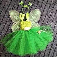 קטן ירוק פיית בנות שמלת טוטו סרוג בייבי פלאפי חצאיות טוטו טול עם כנפי פרפר סט הילדים מסיבת יום הולדת שמלות