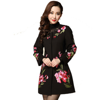 Women Plus Size 3xl 4xl 5xl Sequins Floral Embroidery Blazer Mujer Feminino Outerwear Fashion Elegant Long