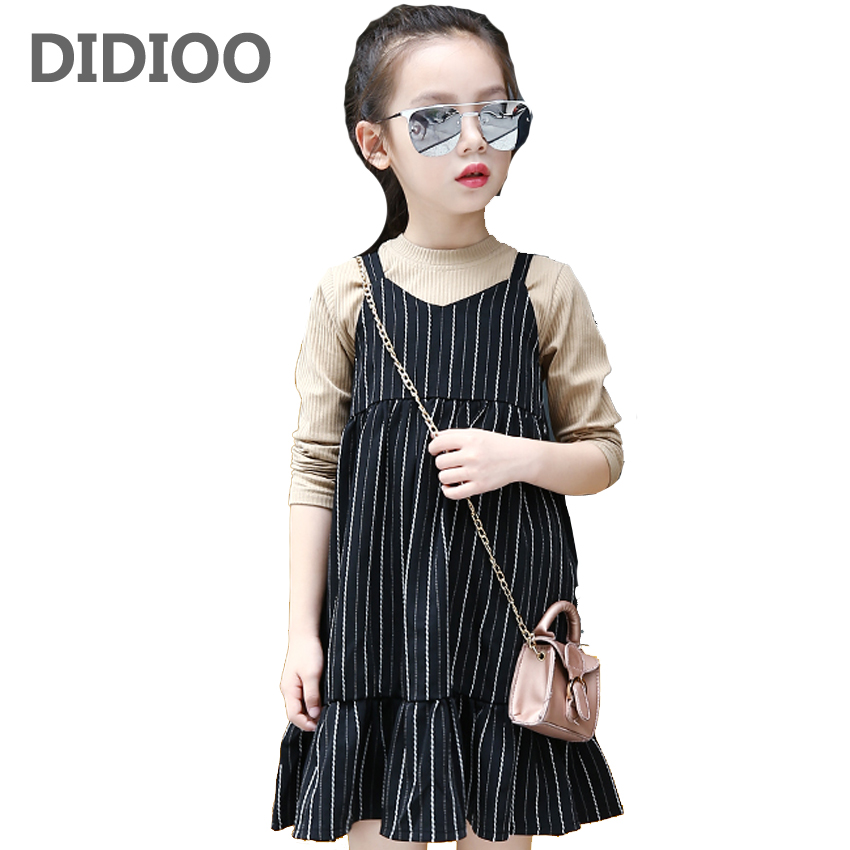 Children Clothing Sets For Girls Outfits Long Sleeve Pullover T-Shirts & Striped Dress 2Pcs V-Neck Suspender Dress For Girls Tee acthink 2017 new girls formal solid lace dress shirt brand princess style long sleeve t shirts for girls children clothing mc029