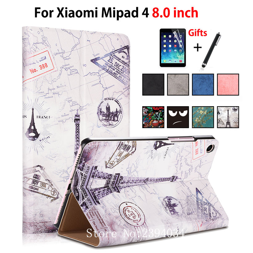Case for Xiaomi Mi Pad MiPad 4 Mipad4 8.0 inch Smart Cover PU Leather Funda Tablet Flip Stand Protective Capa Shell +Stylus+film protective pu flip open case w stand for 7 9 xiaomi tablet pc black