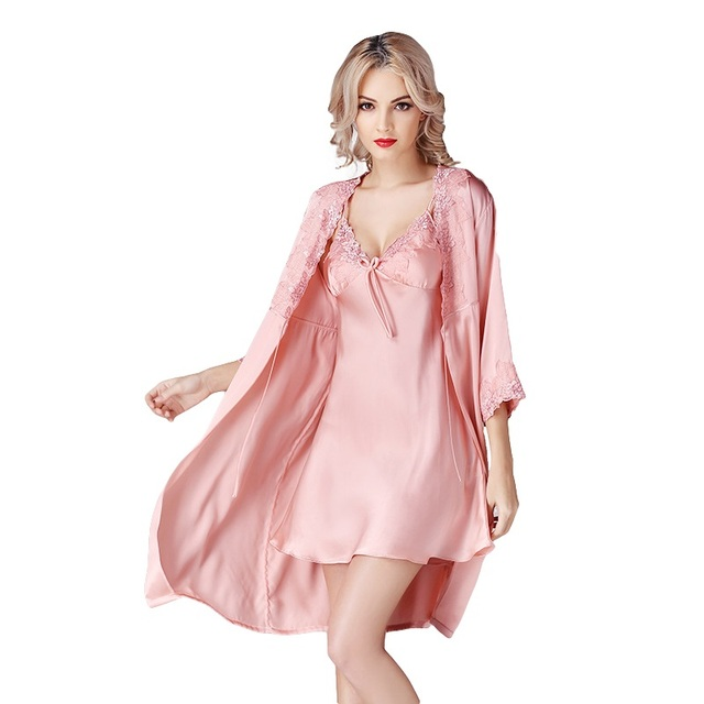 898abb78aec4 New 100% Silk Satin Solid Women Robe   Gown Sets Women s Bathrobe Sexy Robes  with Sexy Gowns sp0048