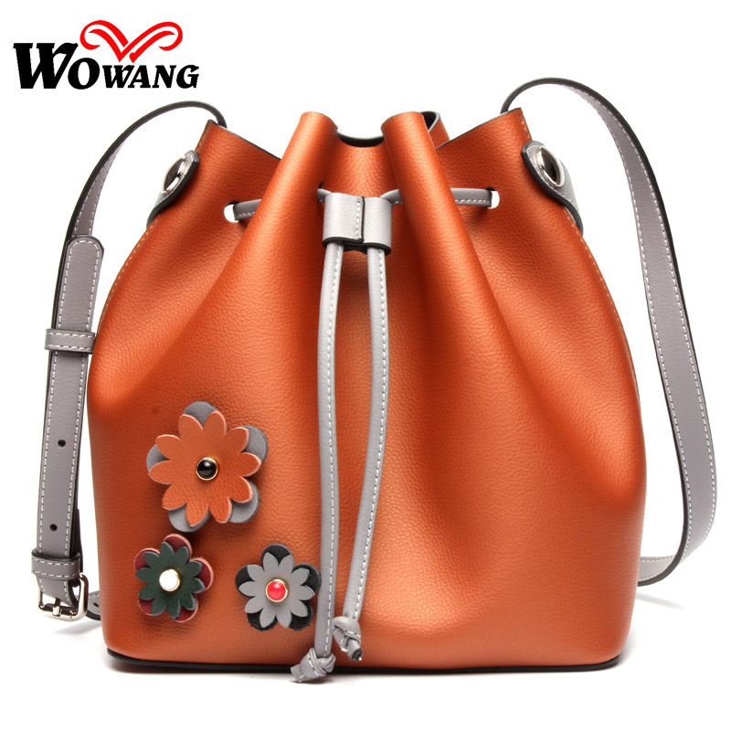 ФОТО 2016 Autumn New Genuine Leather Shoulder Bags Natural Cowhide Women Handbags Brand Designer Women Messenger Bags Bucket bag Tote