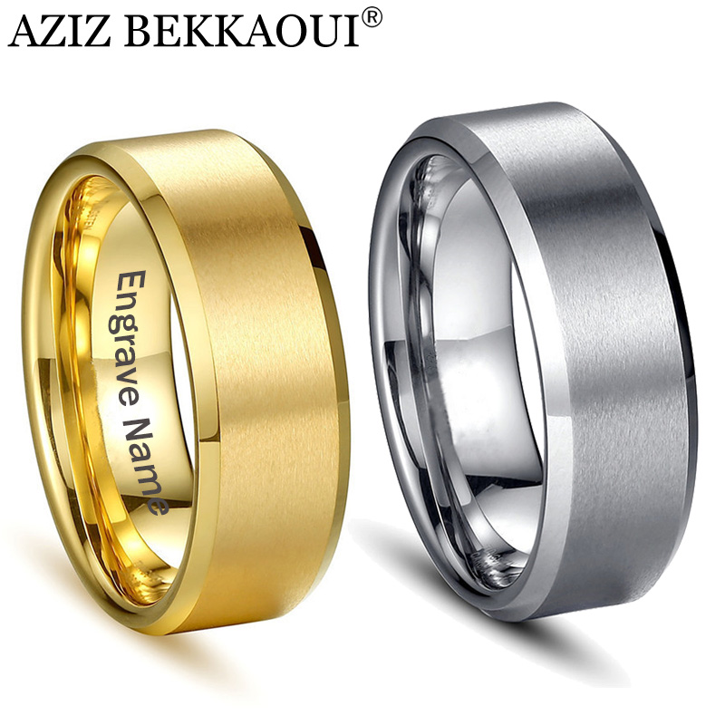 Couple Rings Engagement Stainless-Steel Name Gold-Color Wedding Jewelry Lover AZIZ BEKKAOUI