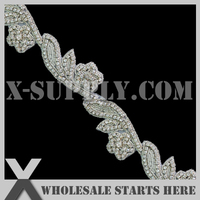 DHL Free Shipping Crystal Rhinestone Applique Bridal Trimming with Iron on Glue on the Back