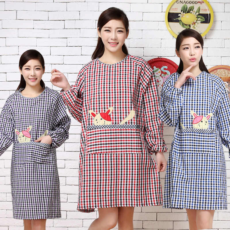 bf47e40a284 Korean fashion kitchen long-sleeved aprons antifouling oil overalls men and  women adult smocks anti