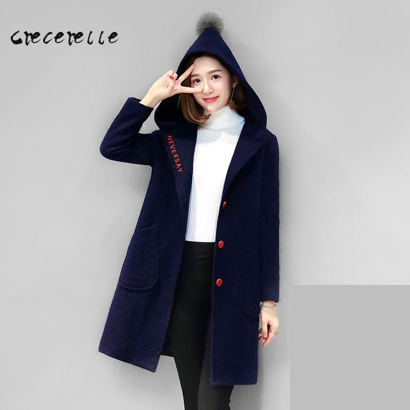 Large Size Women Tibet Meat Hooded Winter Wool Coat Thin Long Woolen Coat Winter Girl Necessary  Vestidos Mujer Embroidery D436