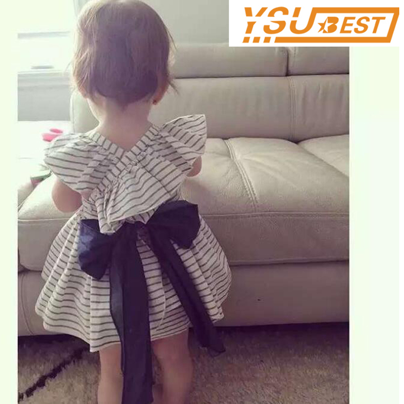 New 2017 Summer Baby Girls Clothing Sets Fashion Big Bowknot Striped Dresses + Shorts 2pcs/lot Girls Clothes Brand Kids Suits