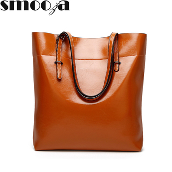 SMOOZA Brand 2018 new polished leather leisure women shoulder bag contracted leather tote bags woman single handbag grande bolsas femininas de couro