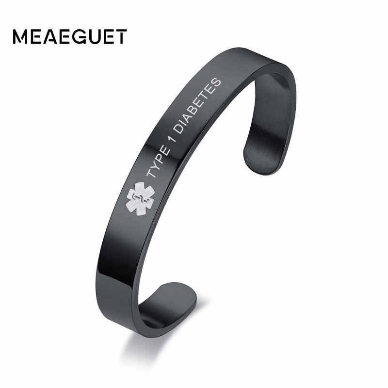 Personalized Medical Alert Cuff Bangle for Men Stainless Steel ID Bracelets dropshipping TYPE 1 DIABETES
