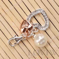 NEW Rose Golden Color White Zircon Heart Pearl Charm With Lobster Clasp Fit Chain Bracelet Necklace