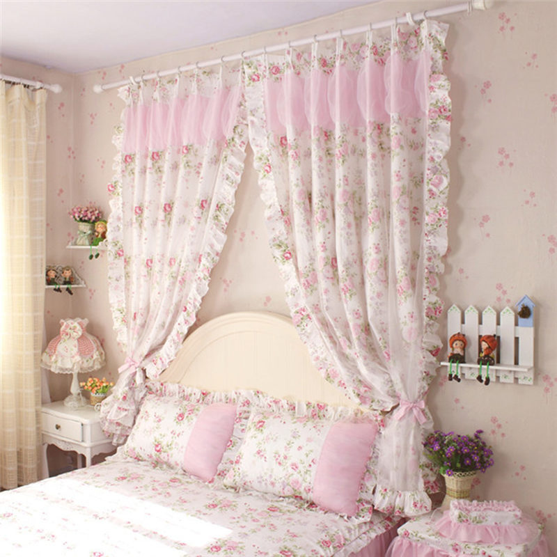 2pcs/lot princess bedroom curtain rustic elegant flower print curtains 2 layers window yarn wedding decoration cortinas