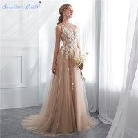 Sapphire Bridal 2019 New Beach Bridal Dress Vestido De Noiva Light Scoop Champagne White Ivory Simple Tulle Lace Wedding Dress