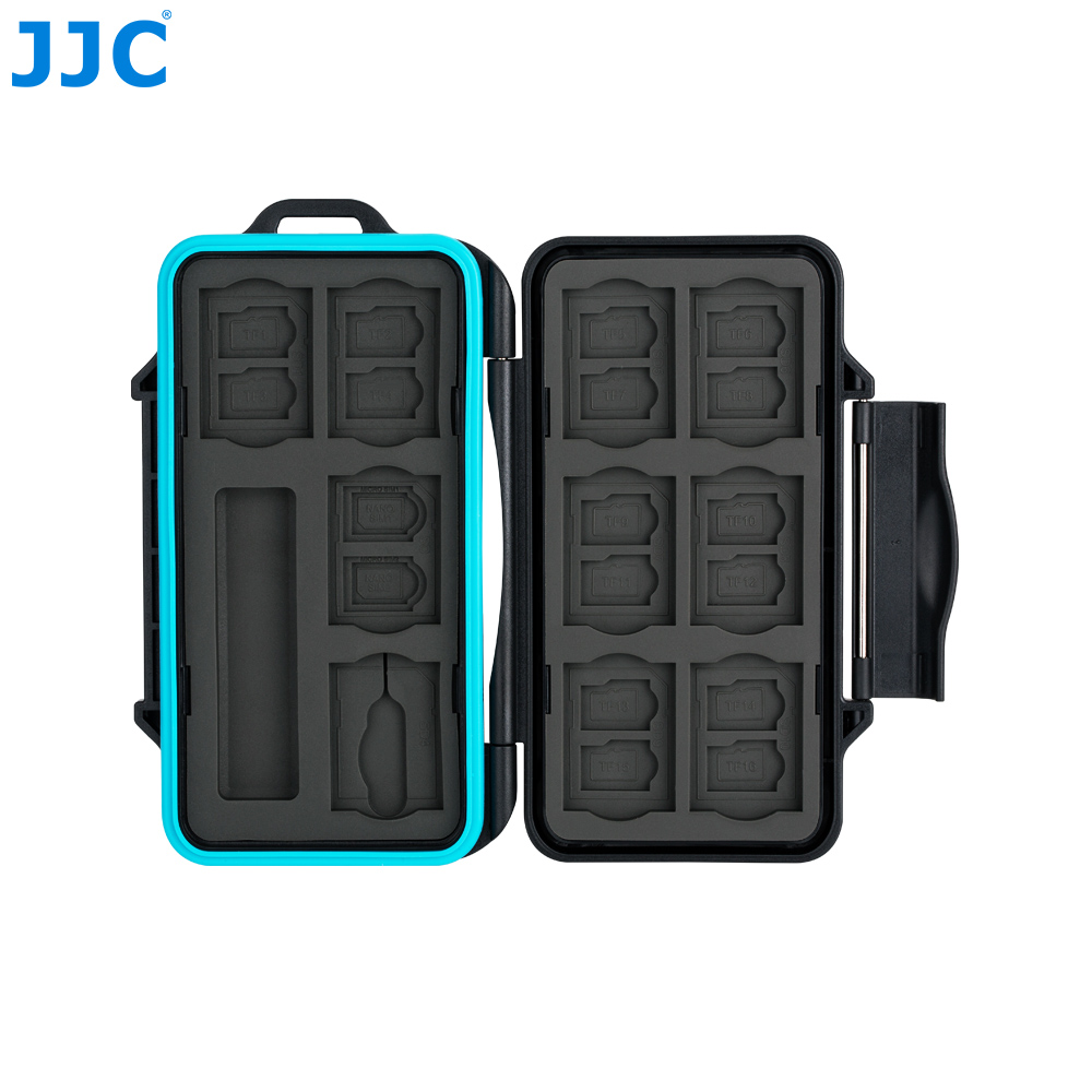 JJC Memory Card Holder SD Micro SD TF Phone Nano SIM Cards Storage Case for Iphone /Canon Camera WaterResistant Box Card Case