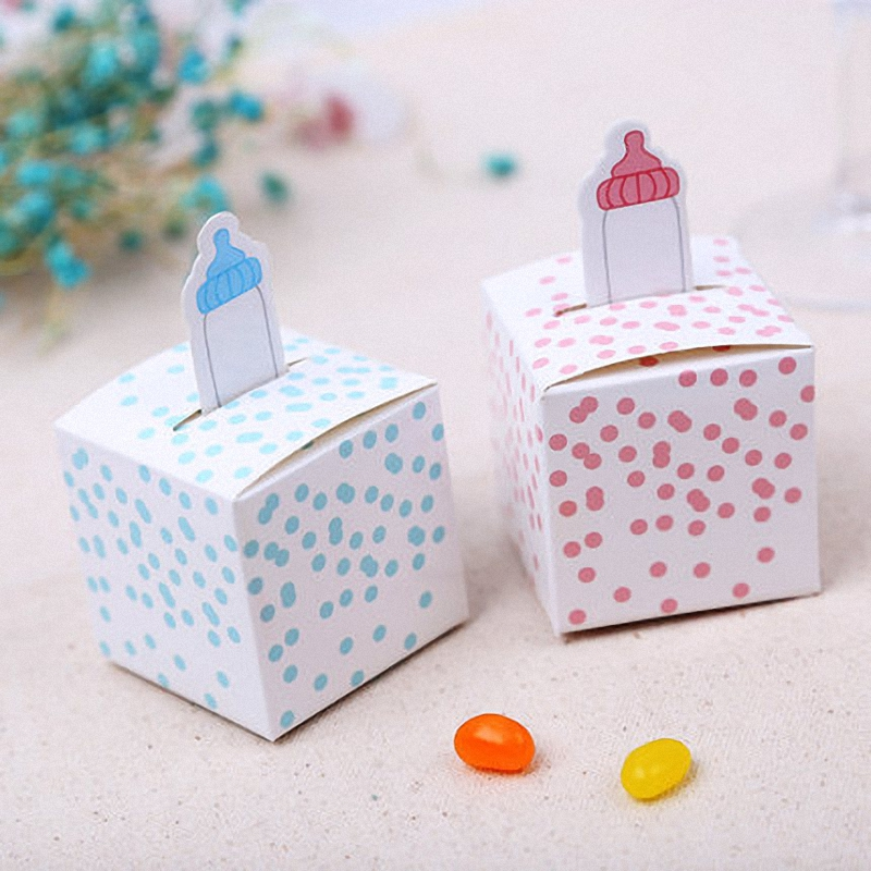 20pcs simple baby shower milk bottle little peanut red elephant candy box chocolate tiny gift boxes