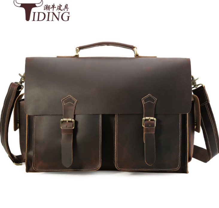 men handbags crazy horse leather extra large big capacity business man vintage 17 laptop ...