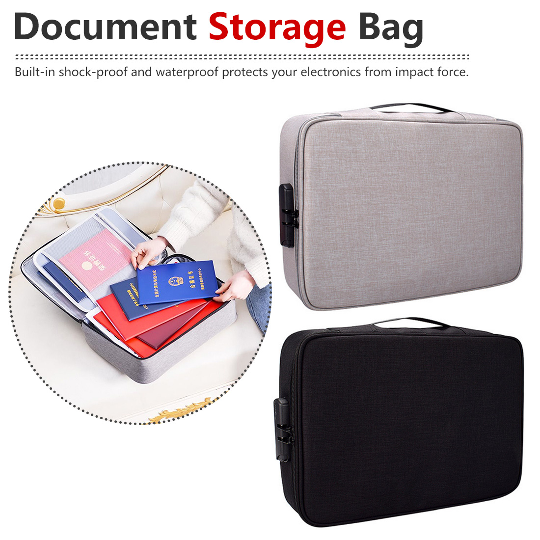 Large Waterproof Document Bag Organizer Papers Storage Pouch Credential Bag Diploma Storage File Pocket With Separator