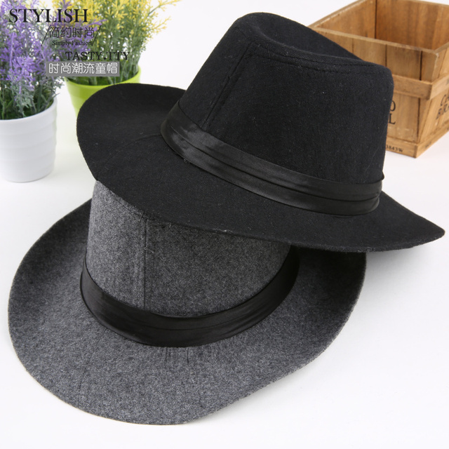 230a71f26bb Fashion autumn winter superstar boys girls JAZZ fedoras hat wool felt cap  wide brim chapeu fedora hat for kids children