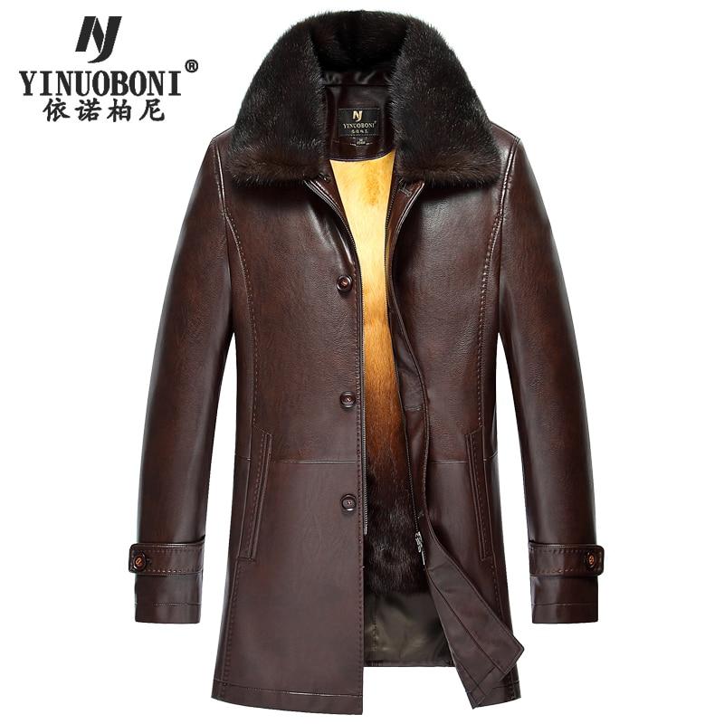 Top Qualité Hommes Hiver Véritable Veste En Cuir Chaud De Fourrure De Lapin Manteau de Marque Hommes En Cuir de Veste Plus La Taille Naturelle Veste en cuir