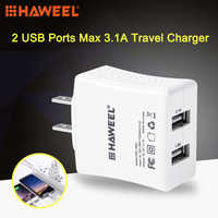 HAWEEL 2 Ports USB Max 3.1A chargeur de voyage avec prise US pour iPhone Galaxy Huawei Xiaomi LG HTC et autres téléphones intelligents (blanc)