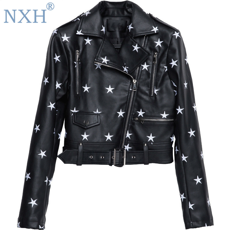 NXH Street Fashion PU Leather Jacket 2018 New Womens Star Embroidery Casual Motorcycle Jackets bright streetwear