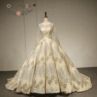 Rose Moda Luxury Long Sleeves Glitter Wedding Dress 2018 Silver Gold Shimmering Wedding Ball Gown Custom