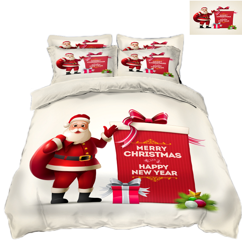 Neue Produkt 3D Bettwäsche Set Mikrofaser Bettwäsche blumen Bett Bettwäsche Bettbezug set Bettlaken Santa Claus geschenk schmücken - 2
