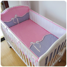 Promotion! 5PCS Mesh bow Cot Baby Bedding Sets Cotton Cartoon Pattern Baby Bumper Bed Around Bed Sheets ,(4bumpers+sheet)