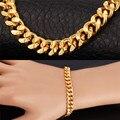 U7 pulseira para homens ouro amarelo/rosa de ouro/preto arma banhado elo da cadeia cubano pulseira homens jóias h556
