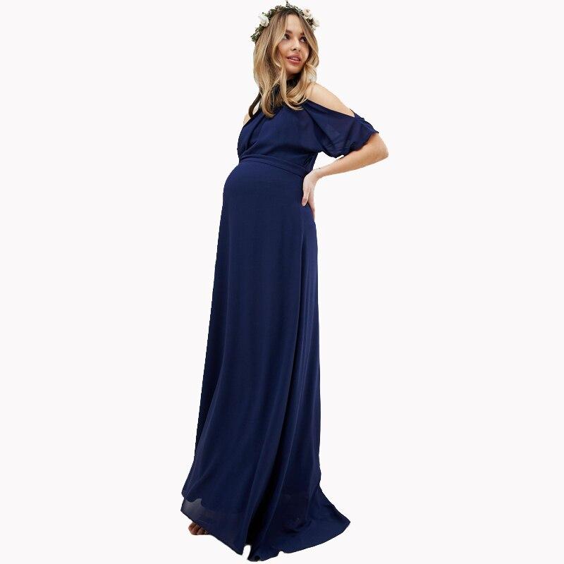 Lycra maternité Maxi robes pour femmes enceintes vêtements longue robe enceinte robes de soirée pour bureau travail maman