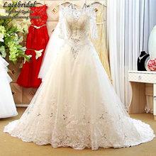 Dubai Luxury Ball Gown Lace Beaded Crystal Diamond Wedding Dresses 2016 with Sleeves Long Bridal Gowns vestidos de novias XW115