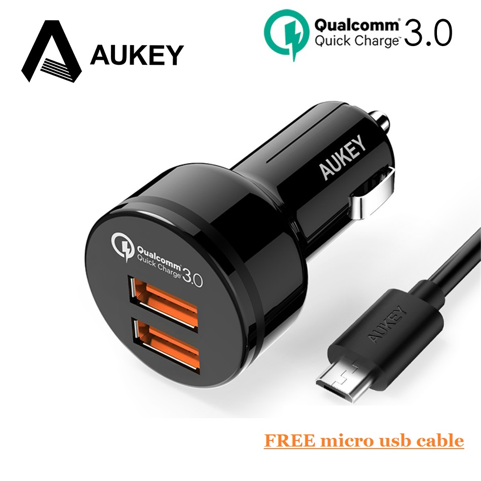 AUKEY USB Fast Car Charger 36W Quick Charge QC3.0 Dual 2 Port Mini Phone Car-Charger For Samsung Galaxy s8 For Xiaomi 4x Redmi 5