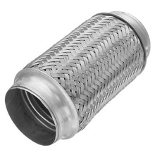 76x195mm 3x8in Exhaust Flex Pipe Stainless Steel Double Braided Style Exhaust Flex Pipe Stainless Double Braid Weld Joint Tube цена