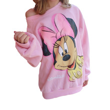 2016 mini mouse Long Sleeve Pullover Mickey O-neck Character Brand Printed Pink Tee Kawaii Style hoodies sweatshirt for women