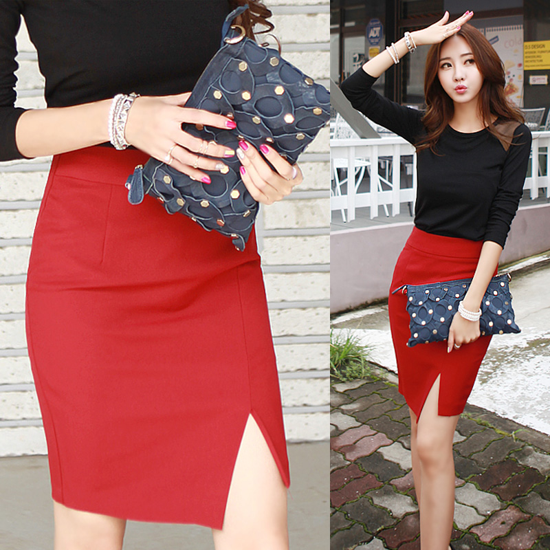 2019 Europe and the United States spring and summer high waist bag hip skirt woman skirt sexy mini Slim stretch split step skirt