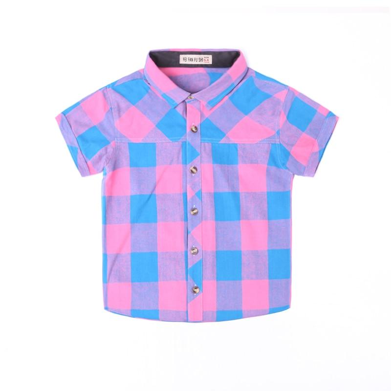 NYA plädskjortor barnkillar bär sommarkontroller fashionabla - Barnkläder