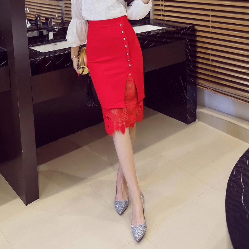 Lace Patchwork Office Pencil Midi Bodycon Skirt 1