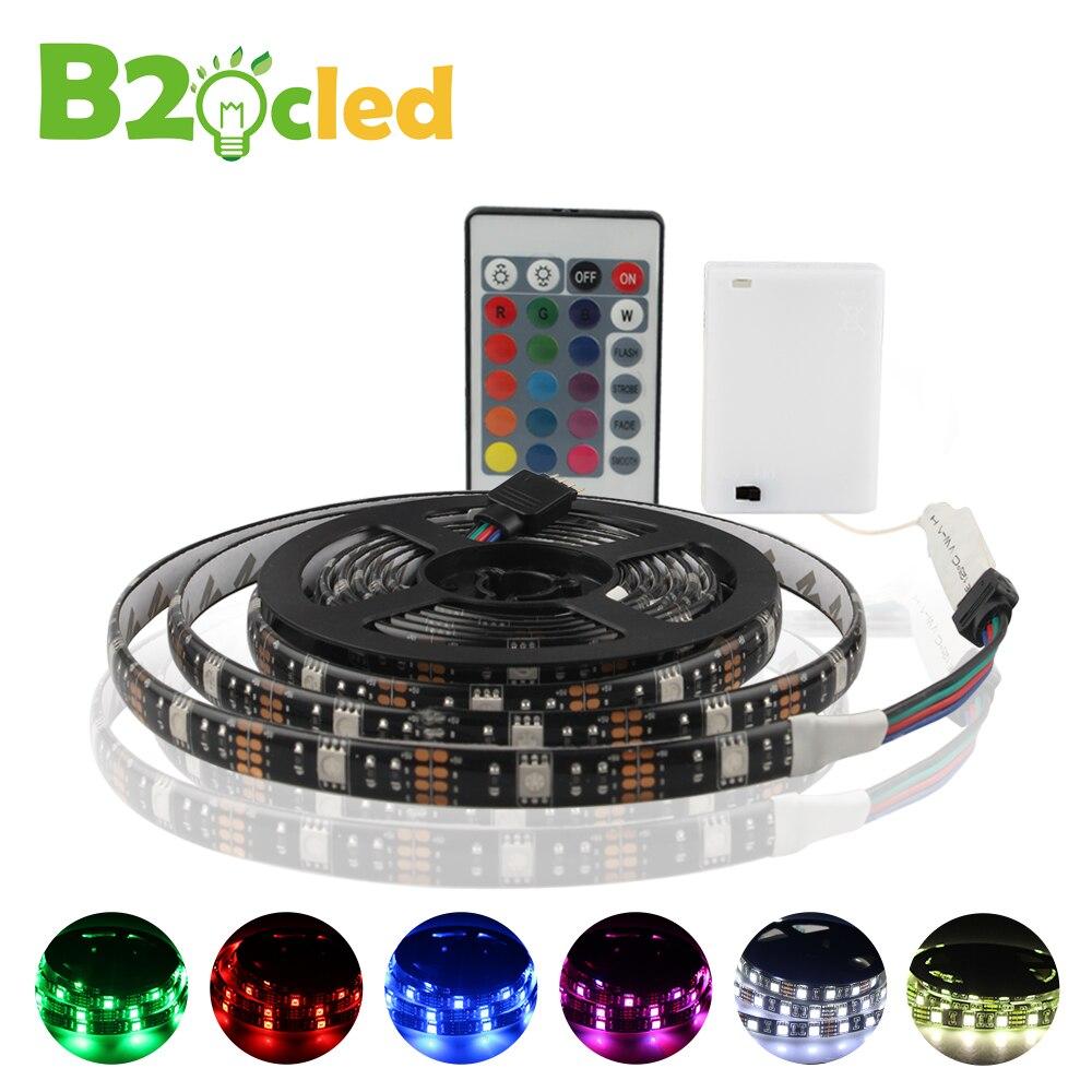 DC 5 v LED Bande Lumière Batterie Alimenté 1 m 2 m SMD 5050 Imperméable Blanc Chaud/Blanc Froid /RVB Flexible LED Bande Chaîne D'éclairage